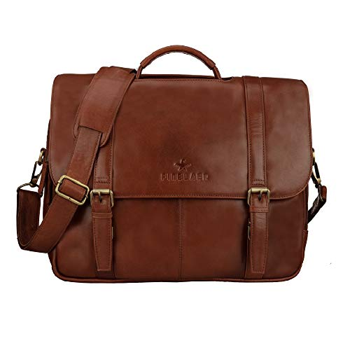 Save %11 Now! Finelaer Men's Brown Leather Flap Over 15.6 inch Laptop Briefcase