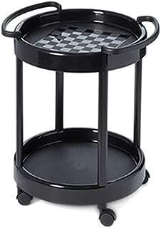Plastmeccanica Tea Trolley, Two Tier Round Table, Serving Cart, Server, TV Snack Table, Indoor, Outdoor, Wheels, Black