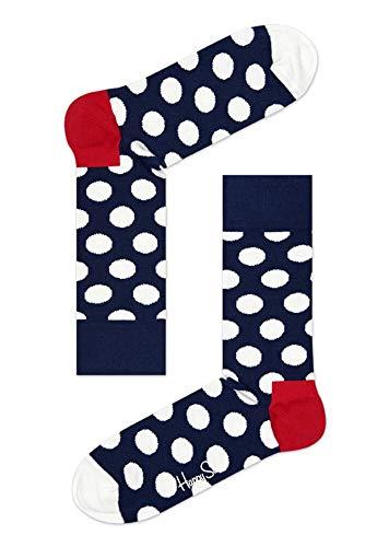 Happy Socks, bunt klassische Baumwolle Socken für Männer und Frauen, Navy, rot & weiße Big Dot (36-40)
