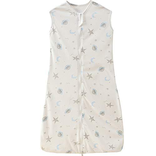 Saco de dormir para bebé, verano, para niña, primavera, recién nacido, algodón, gris y blanco, pijama de 0,5 tog. (110 cm (12-36 meses), diseño de planeta de estrella de la luna.