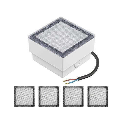 Parlat LED mattonella Lampada da Incasso a Suolo CUS, 10x10cm, 230V, Bianca Fredda, 5 PZ