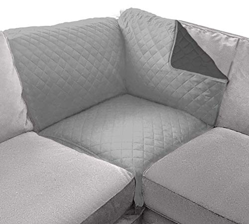 Sofa Shield Patented Corner Sectional Slipcover, Reversible Tear Resistant Soft Quilted Microfiber, 30x30 Inch, Durable Furniture Stain Protector with Straps, Washable Cover, Kids, Light Gray Charcoal