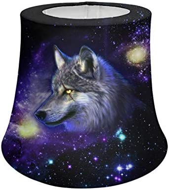 WELLFLYHOM Purple Galaxy Wolf Table Lamp Replacement Cover Tapered Cone Lamp Shades Light Cover product image