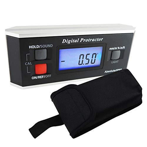 Portable Digital Protractor Angle Finder Niveau Inclinomètre Magnétique 0~360 degrés pour métal en bois LCD Rétro-éclairage intégré à aimant V-groove base