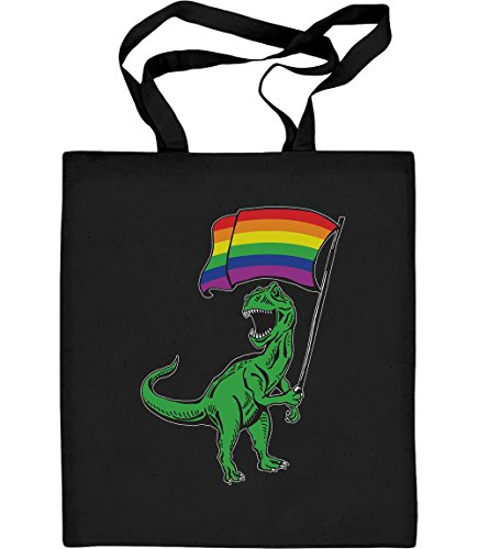 Shirtgeil LGBT Lesbian & Gay - T-Rex Rainbow Regenbogen Tasche Jutebeutel Baumwolltasche One Size Schwarz