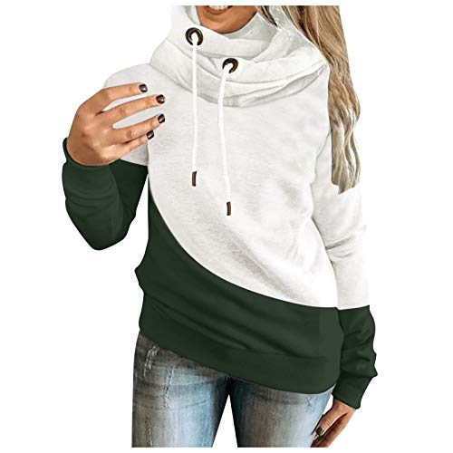 Yowablo Hoodie Pullover Sweatshirt Hoodie Sweatshirt Frauen New Casual Farbkontrast Nähen Langarm Top (L,2Armeegrün)