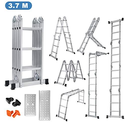Finether-3.7M Escalera Plegable (12.1FT, Multi-propósito Extensible, Buena Calidad, Mayor Seguridad, Aluminio) (Sin panel)