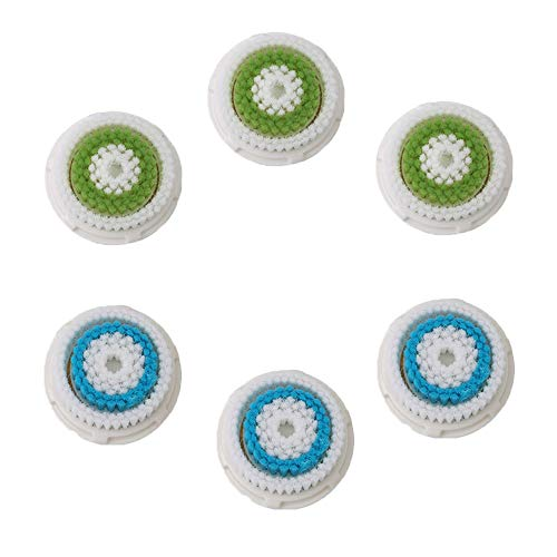 Facial Cleansing Brush Head Replacement, Deep Pore Facial Brush Heads For Clogged and Enlarged Pores(3Green 3Blue)