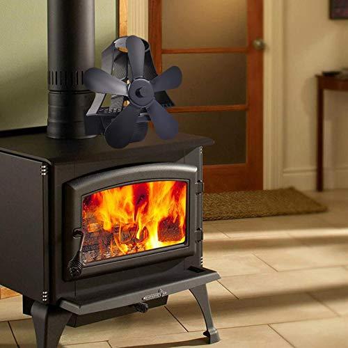 lossomly Ventilador para estufas de leña, chimenea, fogón, 5 aspas, con accionamiento de calor para leña, horno de leña, chimenea, respetuoso con el medio ambiente (negro)