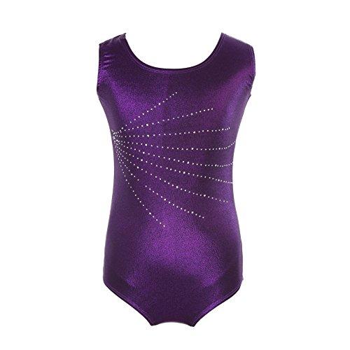 Hougood Turnanzug für Mädchen Leotards for Gymnastics Gymnastik Trikots für Kinder einteilige Diamanten Ballett Body Dance Strumpfhosen Alter 5-14