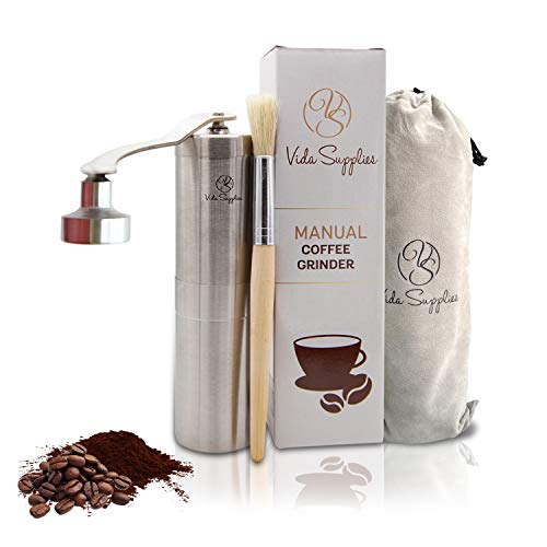 Manual Coffee Grinder with Ceramic Burr - Vida Supplies Brushed Stainless Steel Hand Coffee Mill with Adjustable Setting for Press French, Espresso, Turkish - Burr Coffe Grinder for Travel and Camping