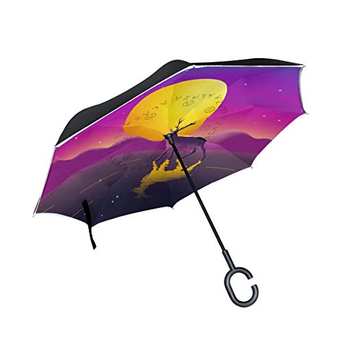 Mr.Lucien Cute Reindeer Bright Moon Watercolor Painting Reverse Inverted Umbrella, Lovely Animal Romantic Double Layer Umbrella Windproof Waterproof for Car Outdoor Travel 2020233