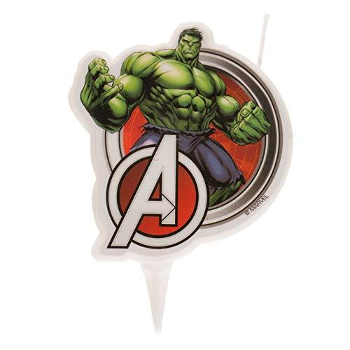 Dekora 346221 Candela 2D di Hulk Avengers per decorazione, multicolore, 2 x 7 x 15 cm