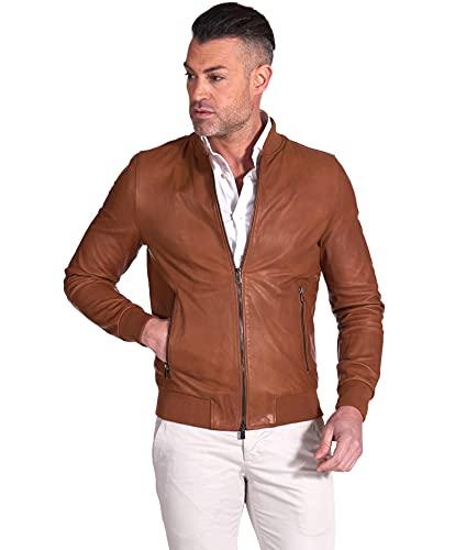 D'Arienzo Chaqueta bomber de piel de coñac para hombre, estilo italiano, de piel de cordero, fabricada en Italia piel S