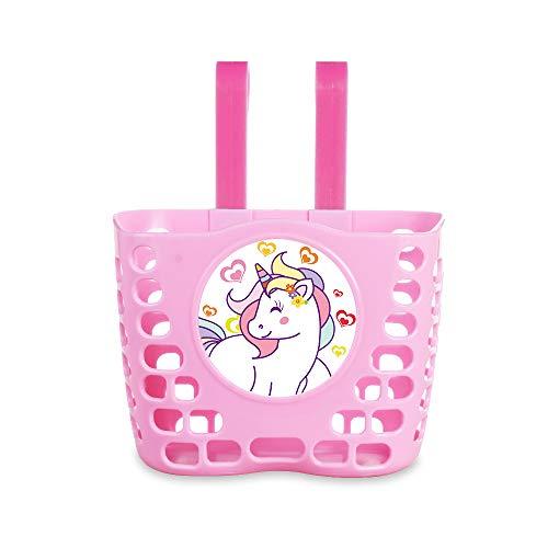 MINI-FACTORY Kid's Bike Basket, Pink Cute Princess Crown/Butterflies/Lovely Unicorn Pattern Bicycle Front Handlebar Basket for Kid Girls (Unicorn)