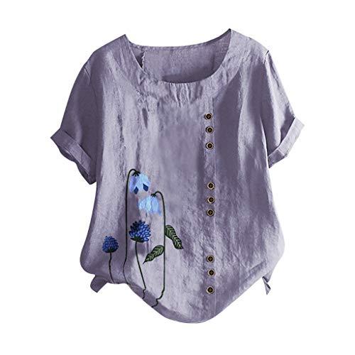 Piabigka Donna Camicie Cotone Lino Top Manica Corta Magliette Casual Estive Elegante T-Shirts Stampa Floreale Moda Camicia Taglie Forti Magliette S-5XL