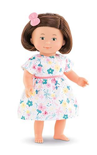 Corolle Mon Premier Poupon Florolle Eglantine / Weichkörperpuppe mit braunen Haaren / Haargummi und Blumenkleid / Vanilleduft / 32cm / Für Kinder ab 18 Monaten geeignet