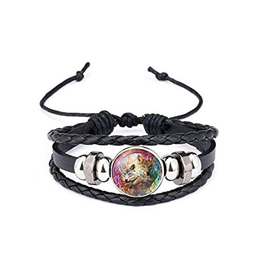 Pulsera de cuero con cabujón de cristal de lobo aullando pulseras trenzadas multicapa para mujeres y hombres