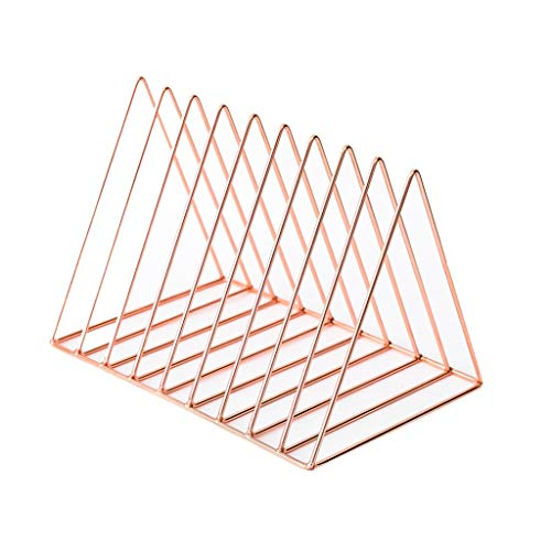 Juonjee Zeitungsständer Buchständer Dreieck Kreative Beschichtung Metall Desktop Dekoration (Color : Pink)
