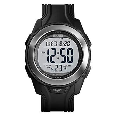 SKMEI Military Outdoor Waterproof Watches, LED Screen Large Face Stopwatch Wristwatch Men's Digital Sports Watch.