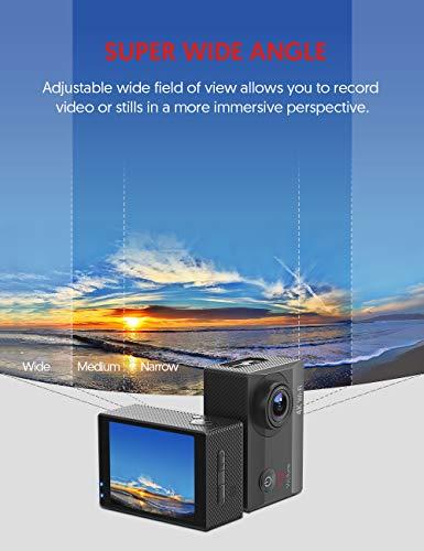 Victure Action Cam 4K Wifi 170° Weitwinkel Aktionkameras Wasserdicht 40M Unterwasserkamera 20MP Ultra Full HD Sport Action Kamera mit Ladegerät 2 Akkus und Gratis Zubehör - 6