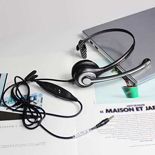 Headset Handy mit Mikrofon Noise Cancelling & Lautstärkeregler, 3,5mm Klinke PC Kopfhörer für iPhone Samsung Laptop Business Skype SoftPhone LKW Fahrer Call Center Office, Klar Chat, Ultra Komfort