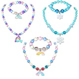G.C 3 Sets Colorful Necklace Bracelet with Cute Mermaid Rainbow Princess Pendant Kids Stretchy Chunky Costume Friendship Jewelry Gift Toys Party Favors Dress up Jewelry for Toddler Girls