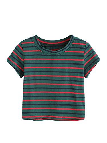 SweatyRocks Womens Tie Dye Letter Print Crop Top T Shirt,Striped  1,Small =XS
