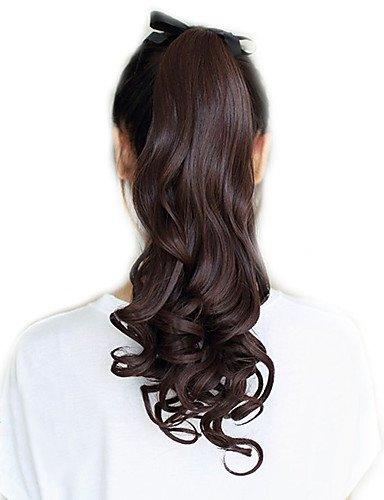 ahom (perruque Noble 45,7 cm Ruban synthétique Marron Long Bouclés queue de cheval extensions de cheveux