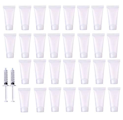 Bottiglie da viaggio ricaricabili da 30 ml, 32 tubi vuoti in plastica e bottiglia per trucco morbido per articoli da toeletta, liquidi, shampoo e lozione