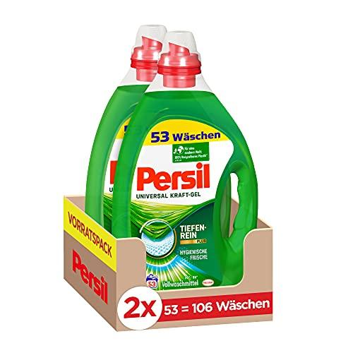 Persil Detersivo liquido universale per lavaggio (2 x 53 lavaggi), detersivo completo con tecnologia profondenrein-Plus combatte le macchie più ostinate per una purezza radiosa