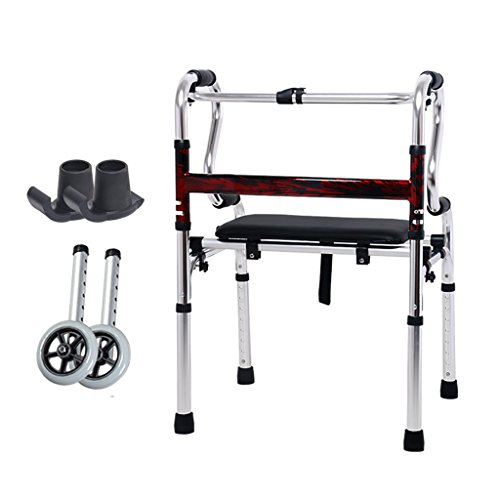 Leichte 3,6 kg Faltbare Rollator Walker Aid 4 Beine Gehstock Einstellbare Höhe Steh Toilettenrahmen für Erwachsene Senioren Behinderte | mit Ledersitz / 2 Rad / Anti-Rutsch-Fußmatte | Aluminiumlegier