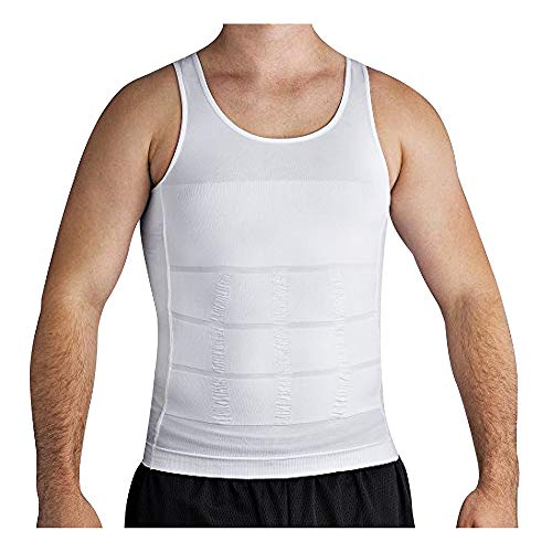 Roc Bodywear Men's Slimming Body Shaper Compression Shirt Slim Fit Undershirt Shapewear Mens Shirts Undershirts USA Company! (Md, White)