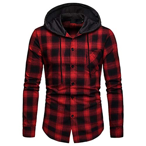 Pullover Herren Herbst Winter Langarm Sweatshirts Plaid Kapuzen Shirt Kapuzenpullover...