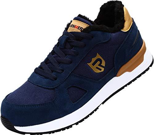LARNMERN Sicherheitsschuhe Herren Damen,Atmungsaktive Leicht Reflektierende rutschfeste Arbeitsschuhe Sportlich Stahlkappe Sneaker mit Fell (44 EU blau)