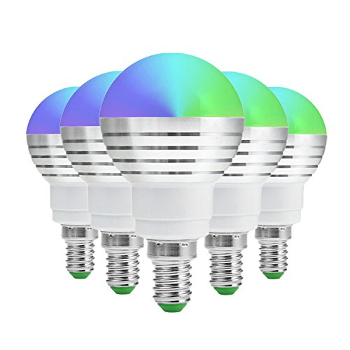Led Bulbs Lampadina E14 RGB Dimmable 5W LED Lampadina Con 24 chiave di Infrared Remote Control Adatto for Living Room CA 85-265V 5 Pack