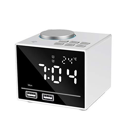 Led Digital Wecker, Radiowecker Bluetooth mit FM Radio, Nachtlicht, Dual-Alarm, Lautsprecher, Aux/TF, FM-Radio and Temperatur und Große Spiegel-Anzeige 2 USB-Ladeanschluss-EINWEG(Weiß)