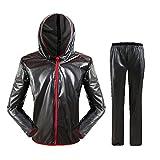 YQQMC Chaqueta de Lluvia al Aire Libre Traje de Lluvia Ligero para Hombres Abrigo Protector Impermeable para Mujer con Pantalones Reutilizable (Color : Black, Size : XXX-Large)