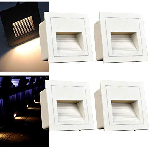 Arotelicht Juego de 4, 3 W LED Aplique de pared empotrable (para escaleras Luz Iluminación Lámpara, aluminio, 230 V Blanco Cálido IP65 impermeable ✅