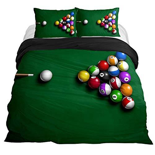COOSUN Biljart Balls Dekbedovertrek Set, 3 Stuk - Microfiber Comforter Beddeken met Ritssluiting, Banden, Decoratieve Beddengoed Sets met Kussen Shams voor Mannen Vrouwen Jongens Meisjes Kids Tieners