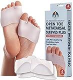 Dr. Frederick's Original Metatarsal Sleeves Plus - 50% More Cushioning - 4 Pieces - Metatarsal Pads for Women & Men