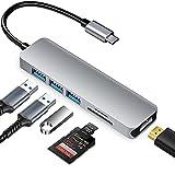 Adaptador Multipuerto USB C Hub, Adaptador USB C a HDMI 4K con Puertos USB 3.0, Lector de Tarjetas SD / TF, 5 en 1 Tipo C Convertidor Compatible para Macbook Pro / Air, XPS, Samsung, Huawei y más