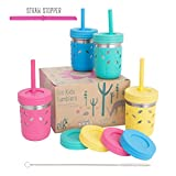 Elk and Friends Stainless Steel Cups/Mason Jar 10oz - Kids cup/Toddler Cups with Silicone Sleeves, Silicone Straws, Straw & Regular lids - Sippy cups, Spill proof cups for Kids, Smoothie Cups
