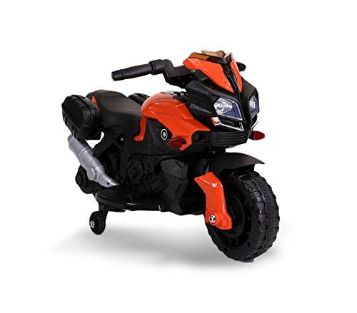 MEDIA WAVE store Motocicletta elettrica LT875 per Bambini Moto Speed con luci e Suoni realistici (Arancione)