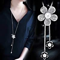 JJKEDW 女性のロングネックレスとペンダント幾何ネックレスジュエリーレディースネックレスアクセサリー (Metal Color : Key Silver)