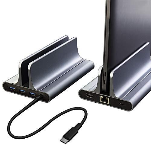 ClothHouse Laptop Stand Verticale con USB Hub C Docking Station, 4K Uscita HDMI, 3 Porte USB, 1 Gigabit Ethernet, di Misura Adattabile Compatibile con Tutti I MacBook Laptop E Telefono