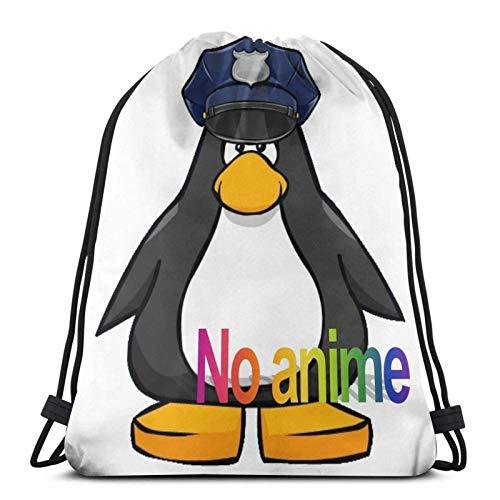 ANGSHI6 Bolsa con cordón Unisex Mochila Deportiva clásica Bolsa de Almacenamiento Bolsa de Viaje No Anime Allowed Club Penguin Cop
