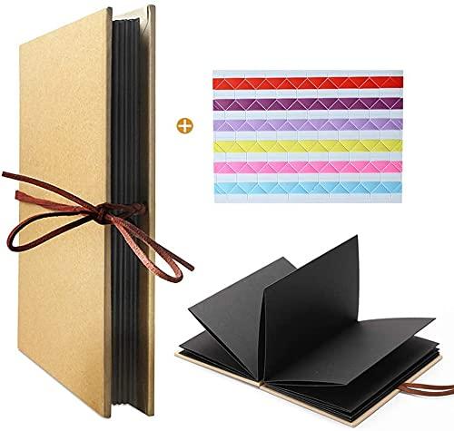 Leeq Fotoalbum, Hardcover, Handwerk Akkordeon, Stil DIY, 36 Seiten Notizblock, Abschlussfeier / Geburtstag / Jahrestag / Hochzeit / Geschenke (Seiten, Schwarz)