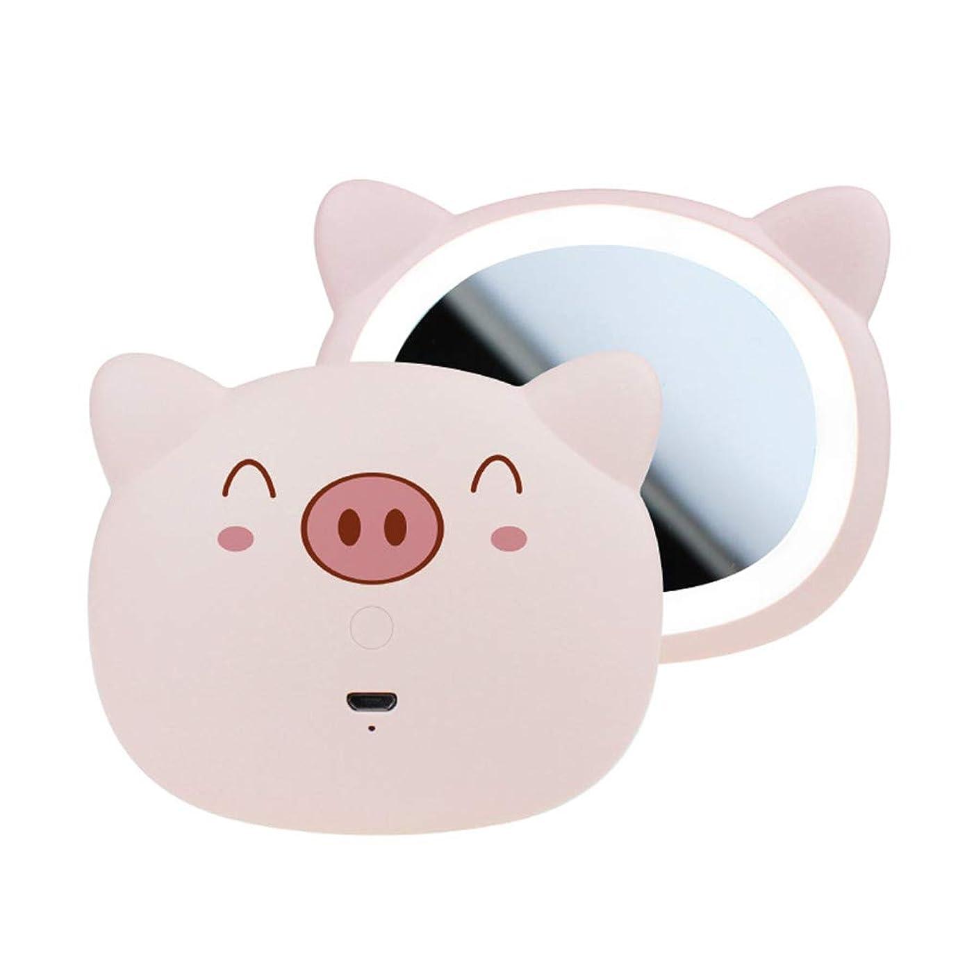 床宿命味方LED 化粧鏡、 ポータブル ハイ?デフィニション ミニ 化粧ミラー フィルライト 小さな鏡,Pink