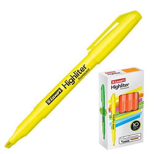 Luxor Highliter - Pack de 10 rotuladores, color amarillo